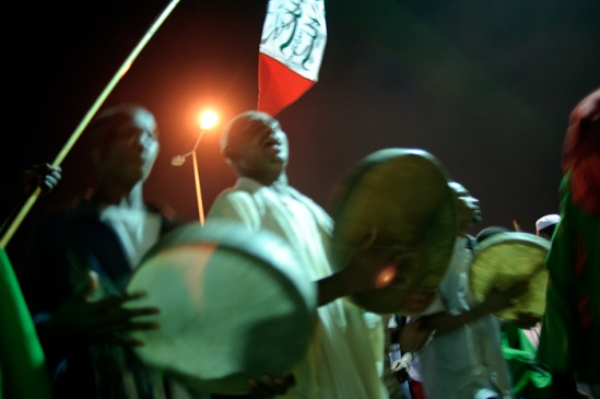 Sufis beat drums during the Dhikr at Mawlid celebrations.