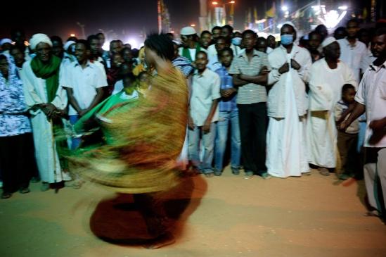 A Sudanese sufi dances during Mawlid celebrations.