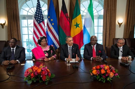 President Obama meets with President Sall of Senegal, President Banda of Malawi, President Ernest Bai Koroma of Sierra Leone, and Prime Minister José Maria Pereira Neves of Cape Verde