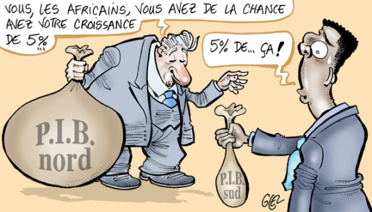 "White man holding Global North's GDP: ""You Africans, you're so lucky with your 5% growth rate..."" / Black man holding Global South's GDP: ""5% of... this much!"" Cartoon by Glez published in Jeune Afrique"